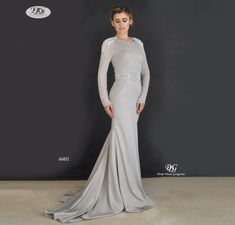 L/S Round Neck Evening Gown Style 6601 in Grey by Miracle Agency Sunset Party, Designer Evening Gowns, Bridal And Formal, Stretch Satin, Chic Dress, Formal Evening Dresses, Fitted Bodice, Formal Wear, Gray Color