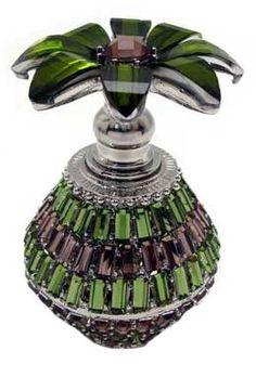Jeweled Green Perfume Bottle