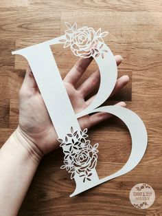 Floral Letter 'B' SVG PDF Design Papercutting Vinyl Wood Crafts, Diy And Crafts, Paper Crafts, Kirigami, Cut Out Art, Laser Cutter Projects, Floral Letters, 3d Prints, Letter B