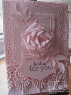 White on White goes to Pink on Pink on this gorgeous card.