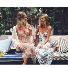 summertime boho babes in long dresses and messy hair #style #bohochic #inspiration