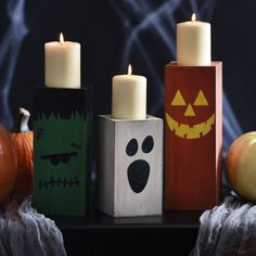 Halloween Wooden Candle Holders, Set of 3 | Kirklands..how cute are these