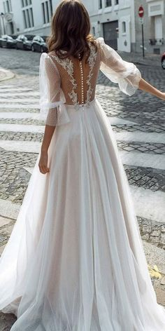 24 Bridal Gowns With Sleeves Never Fails To Impress ❤ bridal gowns with sleeves a line lace illusion back with buttons kookla ❤ Long Gown For Wedding, Fancy Wedding Dresses, Gold Bridesmaid Dresses, Wedding Dress Sleeves, Wedding Gowns, Lace Wedding, Gothic Wedding, Girls White Lace Dress, Lace Dresses