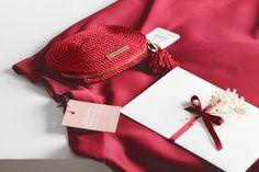 ● Bolso de fiesta hecho en cordón de seda | Modelo Antonia granate | Diseños OLVIDO MADRID | www.olvidomadrid.es