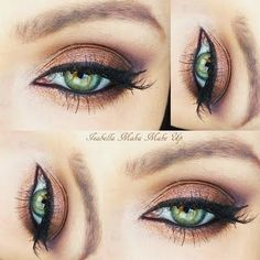 This copper eyeshadow is a great complement to green eyes. Find the tools you need to DIY this and create a glamorous day to night look.