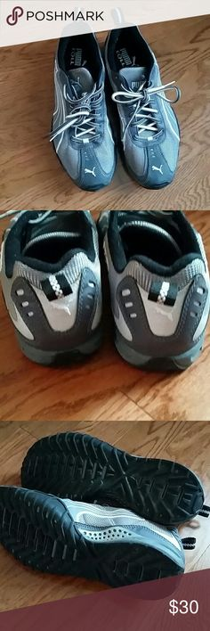 Gray Puma Cell running shoes, 7 twice, in great condition like new Puma Shoes Athletic Shoes