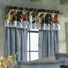 By the Water Window Valance - Horse Themed Gifts, Clothing, Jewelry and Accessories all for Horse Lovers Rustic Crib, Rustic Western Decor, Country Decor, Farmhouse Decor, Water Curtain, Horse Bedding, Western Bedding, Water Bed, Bed In A Bag