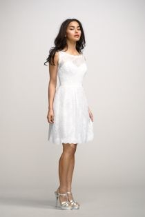 Charming Little White Boat Neck Sleeveless Lace Knee Length Dress--This is the destination if you want to find the best  Lace bridesmaid dress collection!