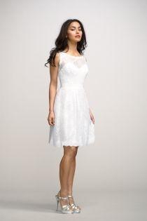 boat neck sleevless white lace knee length bridesmaid dress uk