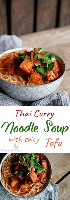 Thai Curry Noodle Soup with spicy tofu vegan