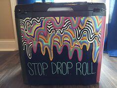 Stop drop and roll. Nola Cooler, Diy Cooler, Frat Coolers, Painted Fraternity Coolers, Painted Coolers, Fraternity Formal, Sae Fraternity, Sorority Canvas, Sorority Paddles