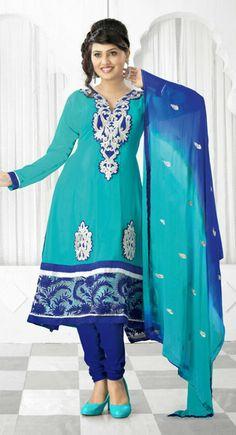 Magnificient Greenish Blue, Royal Blue Color Faux Georgette #Salwar Kameez