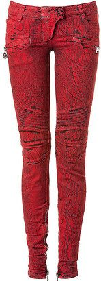 ShopStyle: BALMAIN Red/ Black Stretch Biker Style Pants