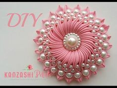 DIY Ribbon flower with beads/ grosgrain flowers with beads tutorial. Link download: http://www.getlinkyoutube.com/watch?v=Ny5GE42IVyI
