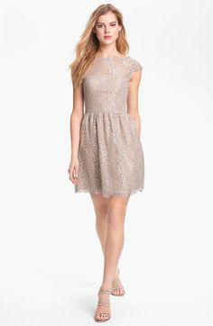 Aidan Mattox Metallic Lace Fit & Flare Dress