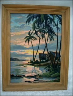 Lovely Quality Paint By Number Vintage Oil Painting Of Tropical Scene Paint By Number Vintage, Tiki Art, Tiki Tiki, Tiki Bar Decor, Number Art, Vintage Tiki, Tiki Room, Tropical Decor, Art And Architecture