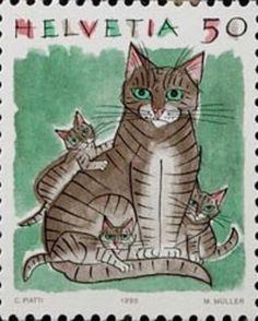 Swiss postage stamp, 1990   art by Celestino Piatti