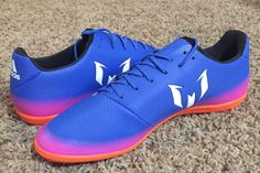 Adidas Messi 16.3 IN Indoor Soccer Shoes Blue/Pink/Orange/White NEW Mens Messi Soccer Shoes, Indoor Soccer, Bike Shoes, New Man, Nike Free, Sneakers Nike, Branding, Adidas, Sport