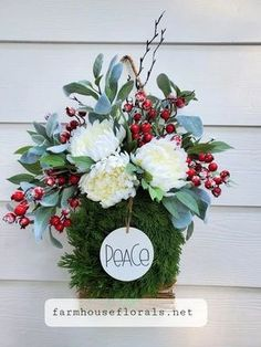 Peace Christmas Door Hanging Basket