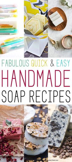 Fabulous Quick and Easy Handmade Soap Recipes I have been wanting to do a collection of Handmade Soap Recipes for some time now and I thought it was a good time to put one together for you. This array includes all kinds of soaps, many of them very quick a Handmade Soap Recipes, Soap Making Recipes, Handmade Soaps, Handmade Market, Diy Soaps, Handmade Ideas, Homemade Beauty, Homemade Gifts, Diy Beauty
