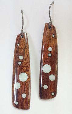 Wooden Rain Drop Earrings by StuartsofBend on Etsy, $80.00