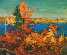 Quality print by Group Of Seven artist Tom Thomson - Autumn Foliage; Available framed, giclee canvas. Canada Landscape, Landscape Art, Landscape Paintings, Landscapes, Tree Paintings, Acrylic Paintings, Group Of Seven Artists, Group Of Seven Paintings, Emily Carr