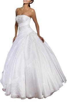 a12b6da910 Amazon.com  Angel Bride Simple Wedding Dresses Strapless Organza Ball Gowns  Beadeds White- US Size 26W  Clothing