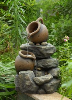 Fountain Cellar Polyresin and Fiberglass Tiered Small Pots Fountain | Wayfair