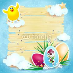 #Easter background with funny chick