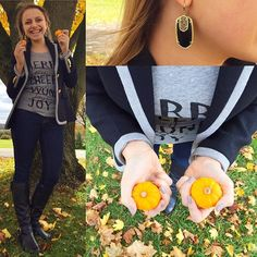 """""""Having some fun today with these little pumpkins and getting ready for Halloween!  #halloween #pumpkins #blackandgrey #fall #fallfashion #fblogger #fashionblogger #a_classic_touch #prep #preppy #blazer #druzy #statementearrings #wearwhatwhereoctober"""" Photo taken by @a_classic_touch on Instagram, pinned via the InstaPin iOS App! http://www.instapinapp.com (10/30/2015)"""