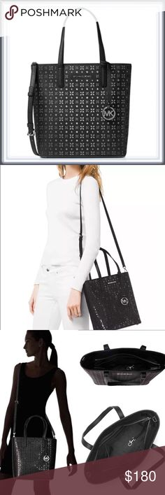 """NWT Michael Kors Hayley Perforated Leather Tote ➖NWT Michael Kors Medium Hayley Perforated Leather Tote  ➖The bag is NWT, includes the dust bag as well. Cross strap included. Never have been used or even left my apartment. The last picture features the actual bag and is not stock.  ➖The bag is 11"""" x 10' x 4.25' Michael Kors Bags Totes"""