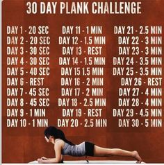 """Planking schedule - okay, I'm putting it under my """"Funny"""" category as, until today, I had never, EVER, done such a thing! However, I made it through my first plank, and believe me - 20 seconds is far longer than one might think! ;-)"""