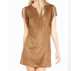 Brown Faux Suede Shift Dress NWOT. Beautiful and unique! Worn only once. Gained weight. Too busy with school, I'll never wear it again so why not sell it... ;) Express Dresses Mini