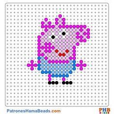 George Pig plantilla hama bead. Descarga una amplia gama de patrones en formato PDF en www.patroneshamabeads.com
