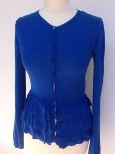Valentino RED top cardigan royal blue frill  peplum  ruffles knitted  Size 12…