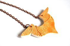 Ceramic necklace statement orange jewel indian texture by Arualceramic