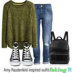 Amy Raudenfeld inspired outfit/Faking IT by tvdsarahmichele on Polyvore featuring H&M, Converse and Elizabeth and James