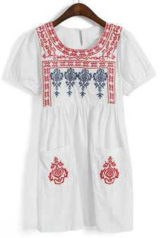 Embroidered Dress with front pockets