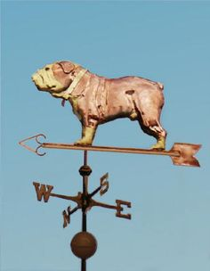 """Bulldog, Tri-Color Standing Dog Weathervane by West Coast Weather Vanes.  Here you can see several variations we've made based of this weathervane design. In the version with the gold leafed collar, we made """"Ruby"""" a female bulldog. We've also made an all copper male bulldog without a collar."""