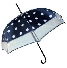 I can just picture this paired with a red rain trenchcoat. ~ Guy de Jean Malice Polka Dot Umbrella Navy Blue