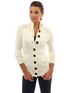 PattyBoutik Women's Mock Neck Cable Knit Cardigan (Ivory M)
