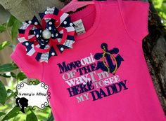 Move out of the way I'm here to see my Daddy - Anchor Design - Girls Applique Hot Pink Shirt & Matching Hair Bow Set