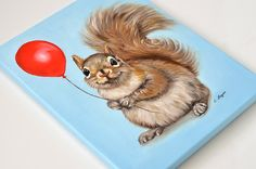 Squirrel giclée print on canvas. Squirrel wrapped by MimoCadeaux..this is so cute!!