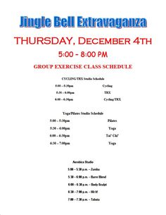 Join us for Jingle Bell Extravaganza and check out our group exercise classes.