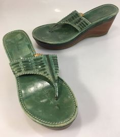 "Cole Haan Womens 8B Green Leather 3"" Wedge Heels Slides Sandals Nike Air Soles #ColeHaan #Slides #Casual"