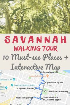 Savannah Georgia Travel Tips   This walking tour of Savannah shows you the best things to do in this Southern gem of Georgia - Savannah. It is perfect for those visiting Savannah for the first-time. Discover top places to visit in Savannah like Historic District, Forsyth Park, Chippewa Square and Savannah Riverfront. The walking tour comes with an interactive map and travel tips to help you experience the best of Savannah! #savannah #SavannahGeorgia #SavannahThingsToDo #TravelTips #CityGuide Savannah Georgia Travel, Visit Savannah, Savannah Chat, Savannah Ga Map, Savannah Tours, Tahiti, Travel Usa, Travel Tips, Travel Destinations