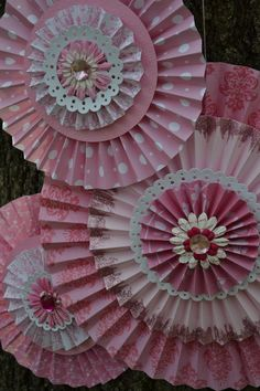 Vintage Princess #1 Paper Rosettes, Set of 3  To Order: www.NoteWordie.Etsy.com