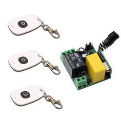 New AC220V 1CH 10A Mini Wireless Remote Control Switch 1 piece Receiver & 3 piece White Transmitter Garage Door / Window /Lamp #Affiliate