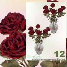 12 pieces of 23 inches Dry Look Artificial Rose Spray _Red *** Visit the image link more details.