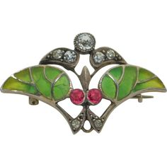 Art Nouveau  Plique-a-Jour Brooch signed Rd & Numbered